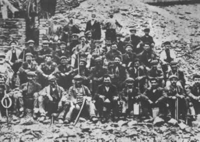 Cwmystwyth, miners at compressor house, c1910